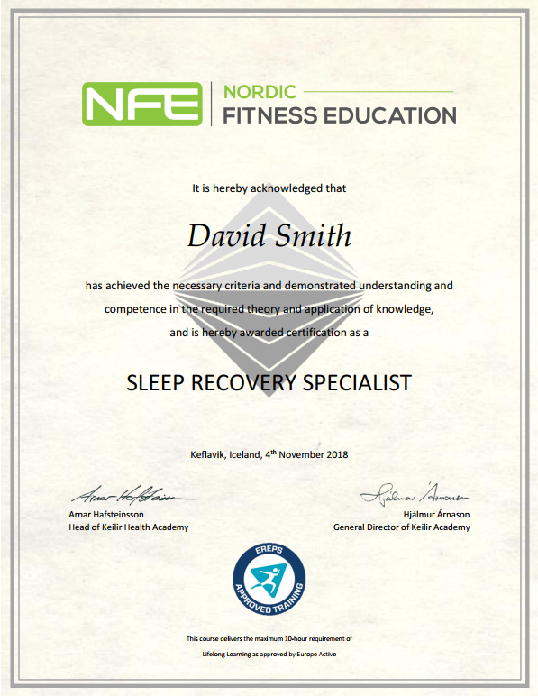 Sleep Recovery Specialist Certificate example
